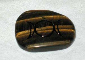 Triple Moon Tiger Eye Worry Stone Healing Wicca Crystal