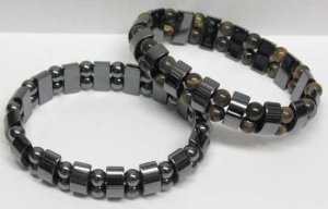 Magnetic Hematite Strechable Bracelet with Colored Beads Relieves Pain