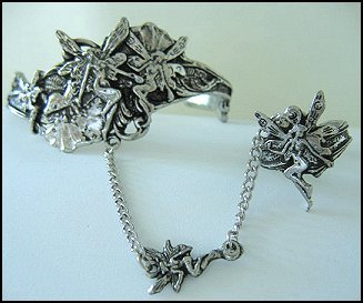 Fairy Slave Bracelet with Ring Pewter Adjustable