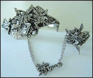 Fairy Slave Bracelet with Ring Pewter Adjustable