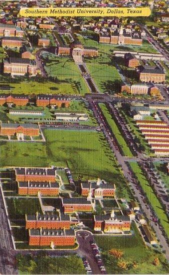Southern Methodist University in Dallas Texas TX, Mid Century Linen Postcard - 3491