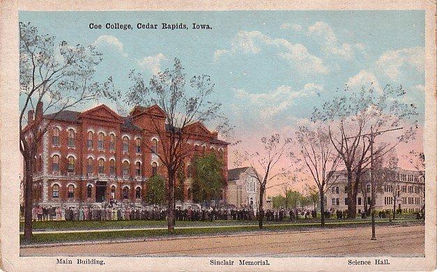 Coe College in Cedar Rapids Iowa IA, Vintage Postcard - 3500