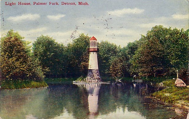 Light House in Palmer Park at Detroit Michigan MI, 1910 Vintage Postcard - 3560