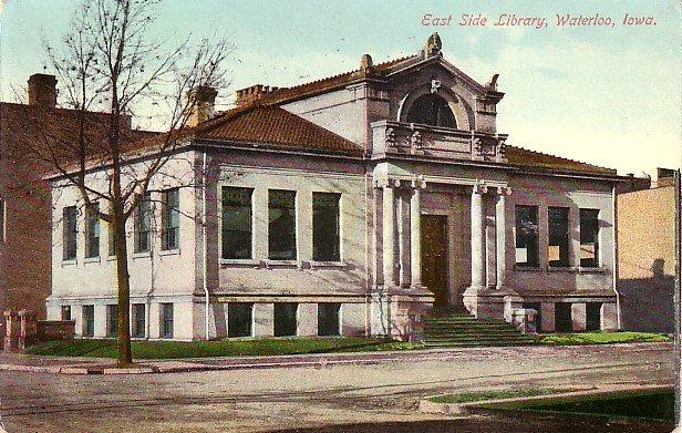 East Side Library in Waterloo Iowa IA, 1910 Vintage Postcard - 3571