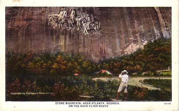 Stone Mountain Confederate Monument in Georgia GA, 1930 Vintage Postcard - 3573