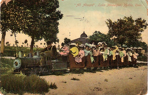 Riding on the Lake Minnequa Train, Pueblo Colorado CO 1909 Vintage Postcard - 3582