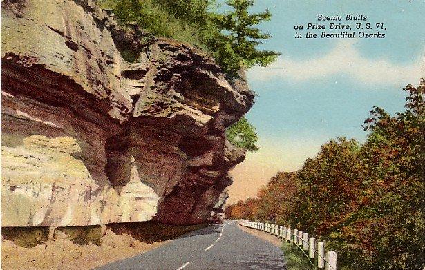 U.S. 71 Bluff Drive in the Ozarks of Missouri MO, Curt Teich Postcard - 3597