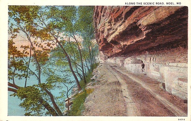 Along the Scenic Road in Noel Missouri MO, Curt Teich Vintage Postcard - 3599