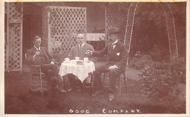 Good Company, Enjoying Tea Alfresco Real Photo Post Card - 3616