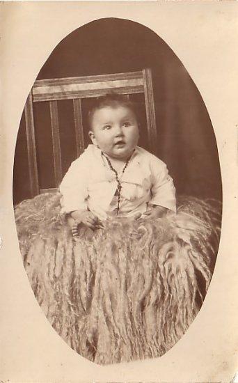Baby Sitting On Sheep Skin Rug, Real Photo Post Card RPPC - 3623