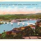 Market Street and Walnut Street Bridges in Chattanooga Tennessee TN Vintage Postcard - 3636