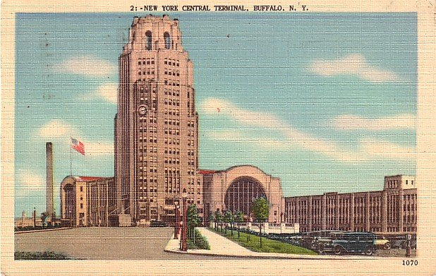 New York Central Terminal in Buffalo New York NY 1947 Linen Postcard - 3637