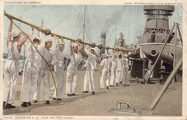 Sailors Cleaning a 50 Foot Long Gun, Detroit Publishing Company Vintage Postcard - 3639
