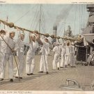 Sailors Cleaning a 50 Foot Long Gun, Detroit Publishing Company Vintage Postcard - 3639