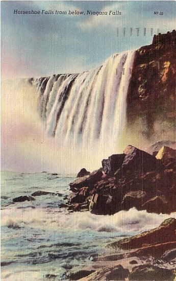 Horseshoe Falls from Below, Niagara Falls 1948 Linen Postcard - 3656