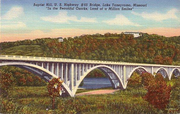 Baptist Hill and Bridge over Lake Taneycomo, Branson Missouri MO Linen Postcard - 3681