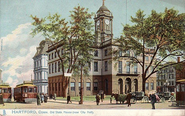 Raphael Tuck & Sons, Trolleys in Front of City Hall in Hartford Connecticut CT Postcard - 3683