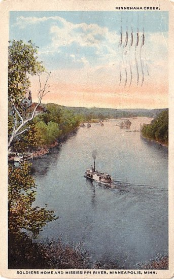 Soldiers Home and Mississippi River in Minneapolis Minnesota MN, Vintage Postcard - 3695