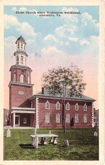 Christ Church where Washington Worshipped in Alexandria, Virginia VA Vintage Postcard - 3696