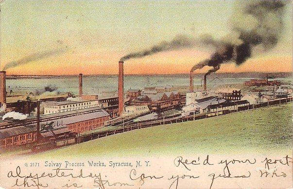 Solvay Process Works in Syracuse, New York NY 1911 Vintage Postcard - 3718