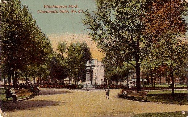 Washington Park in Cincinnati, Ohio OH Vintage Postcard - 3758