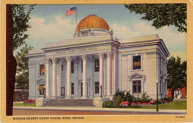 Washoe County Court House in Reno Nevada NV 1937 Curt Teich Linen Postcard - 3760