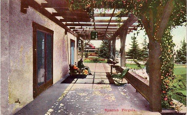 Spanish Pergola in California CA Vintage Postcard - 3782