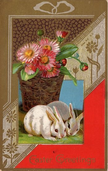Easter Greetings with Rabbits,  Winsch Back 1911 Vintage Postcard - 3855