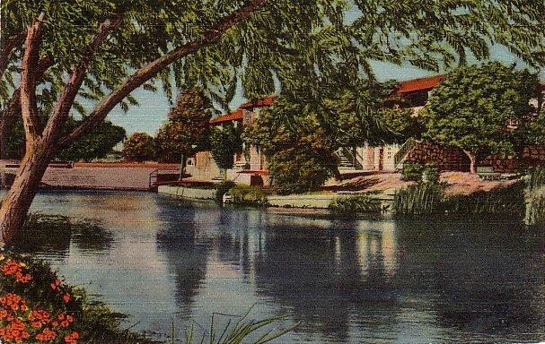 Comanche Springs in Fort Stockton Texas TX Linen Postcard - 3879