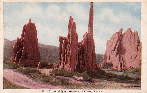 Cathedral Spires, Garden of the Gods, Colorado CO Vintage Postcard - 3920