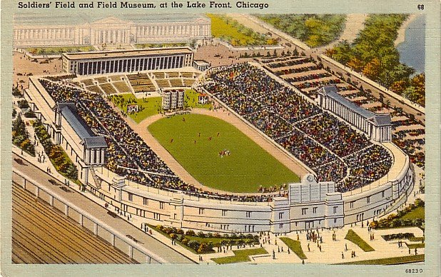Soldiers' Field and Field Museum at the Lake Front in Chicago Illinois IL Linen Postcard - 0001