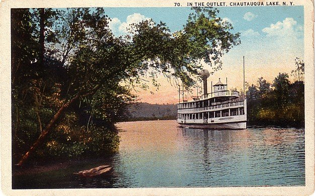 Steamboat in the Outlet of the Chautauqua Lake in New York NY Curt Teich Vintage Postcard - 0008