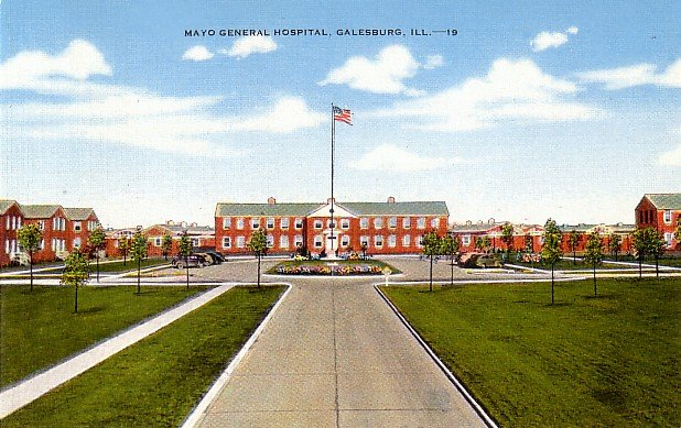 Mayo General Hospital in Galesburg Illinois IL Linen Postcard - 0021