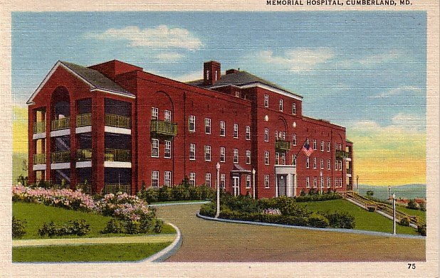 Memorial Hospital in Cumberland Maryland MD Linen Postcard - 0022