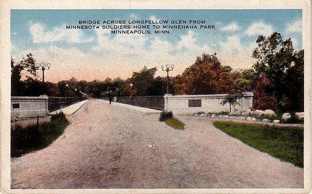 Bridge Across Longfellow Glen, Minneapolis Minnesota MN Vintage Postcard - 0023