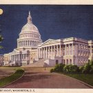 U.S. Capitol by Night, Washington District of Columbia DC 1934 Linen Postcard - 0024