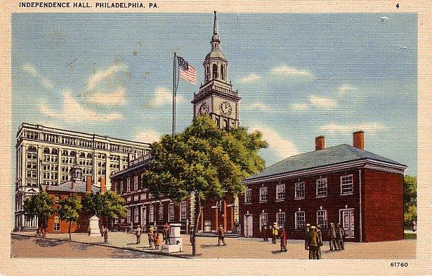 Independence Hall in Philadelphia Pennsylvania PA Linen Postcard - 0035