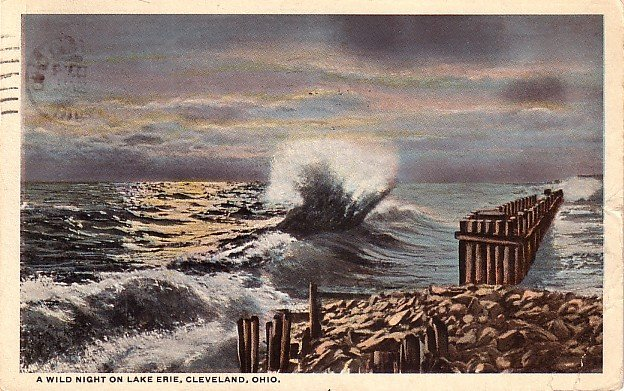 A Wild Night on Lake Erie, Cleveland Ohio OH 1918 Vintage Postcard - 0036