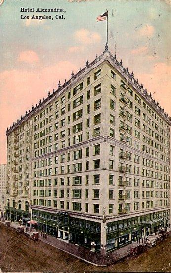 1915 View of the Hotel Alexandria in Los Angeles California CA Vintage Postcard - 0041