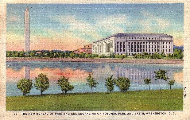 Bureau of Printing and Engraving on Potomac Park and Basin Washington DC Postcard - 0045