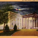 White House in Washington DC at Night, 1933 Curt Teich Linen Postcard - 0047