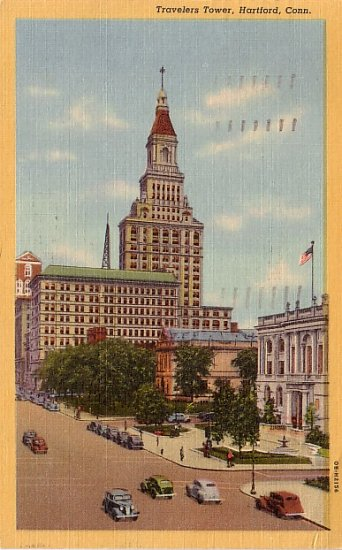 Travelers Tower in Hartford Connecticut CT 1940 Curt Teich Linen Postcard - 0048
