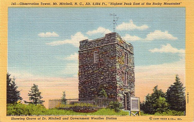 Observation Toweer and Grave of Dr. Mitchell on Mount Mitchell North Carolina NC Postcard - 0049