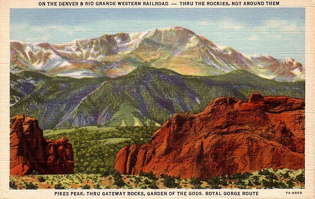Pikes Peak thru Gateway Rocks, Garden of the Gods in Colorado CO 1937 Linen Postcard - 0050