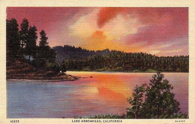 Sunset on Lake Arrowhead in California CA 1932 Curt Teich Linen Postcard - 0052