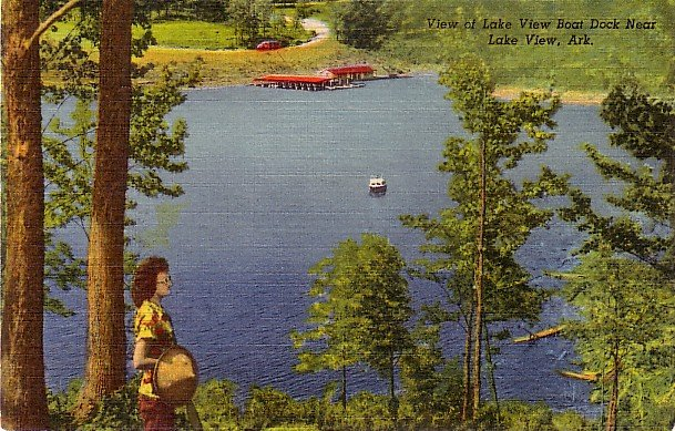 View of Boat Dock Near Lake View Arkansas AR 1952 Curt Teich Linen Postcard - 0053