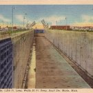 Empty Sabin Lock, Sault Ste. Marie Michigan MI 1950 Curt Teich Linen Postcard - 0057