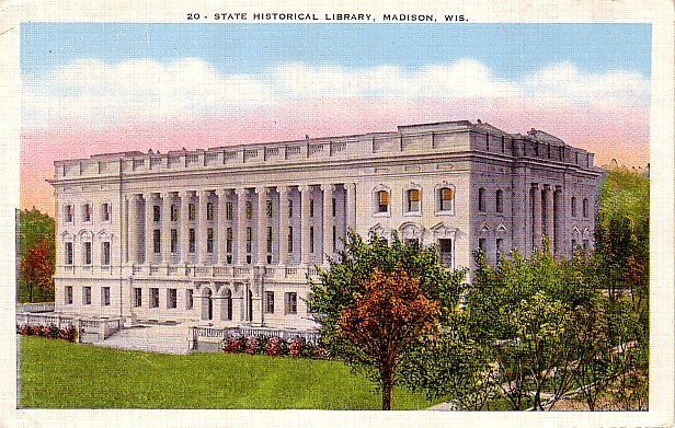 State historical Library in Madison Wisconsin WI, Linen Postcard - 0062