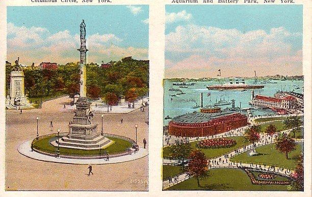 Columbus Circle, Aquarium and Battery Park in New York City NY Vintage Postcard - 0064