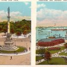 Columbus Circle, Aquarium and Battery Park in New York City NY Vintage Postcard - 0064